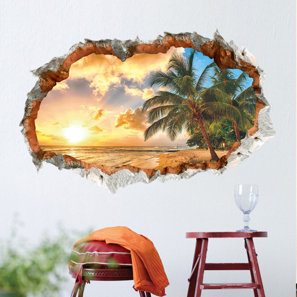 Hot Sunshine Beach Coconut 3D Wall Decals PVC Self-adhesive Nature Landscape Wall Art Sticker for Living Room Bedroom Decoration