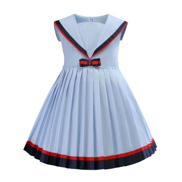 Compre Niñas Vestidos De Cuello Marinero 2019 Niños Vestidos De Verano Para Niñas Vestido Plisado Vestido Ocasional De La Muchacha Para 90 140 Cm A