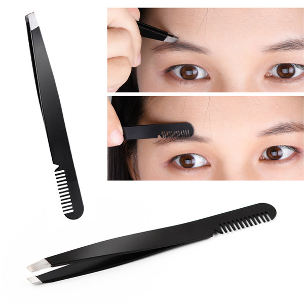 top popular 1pcs Eyebrow Tweezer Eyebrow comb Beauty Slanted Puller Stainless Steel Eye Brow Clips Hair Removal Makeup Toos 2021