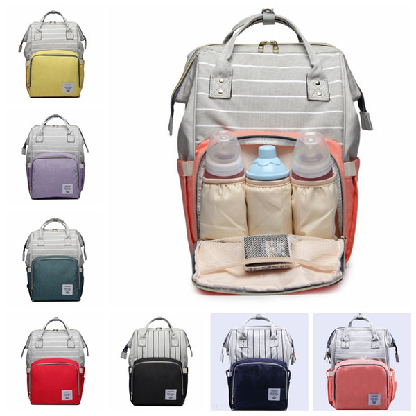 best selling 7 colors Fashion stripe Mummy Maternity Nappy Bag Large Capacity Baby Bags Travel Backpack Desinger Nursing Bag for Baby Care diaper bag