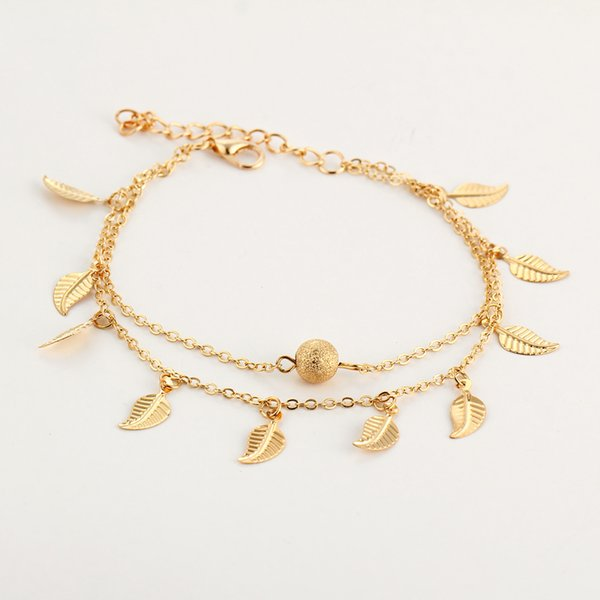 Gold Pleated Leaves Tassel Double Layer Anklets For Women summer Beach Pendant Ankle Bracelet Long Foot Chain Wedding Jewelry Gift drop ship