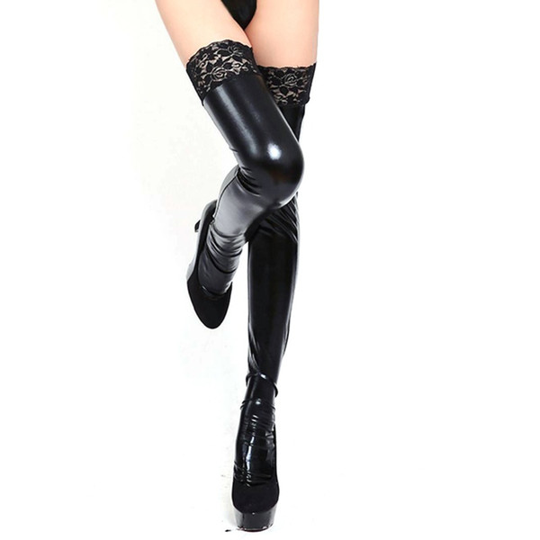 Lace Stay-Up Women Sexy Lady Wet Look Faux Leather Thigh High Stockings 3 Color