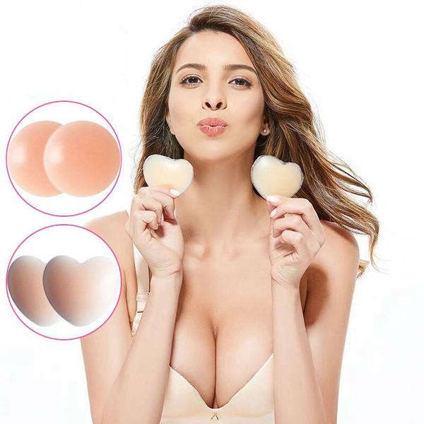 Adesivo per petto in silicone per donna Adesivo per petto Copricapezzolo Cuscino per reggiseno invisibile Impermeabile traspirante Anti-illuminazione Cura ultra-sottile di bellezza HHA474