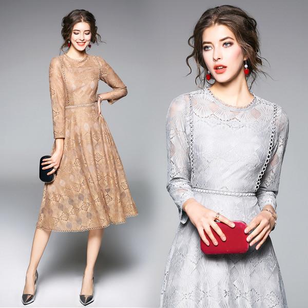 Elegant Lace Long Sleeve Slim Tunic Midi Dress Vintage Sexy Office Party Fashion Beach Dress 2019 Spring Clothing Gray Khaki