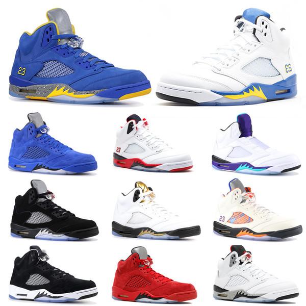 2019 Zapatillas de baloncesto para hombre 5 5s Bred Laney Blue White Fresh Prince Grape Vuelo internacional Hombre Deporte Zapatillas de deporte Tamaño 41-47 Venta online