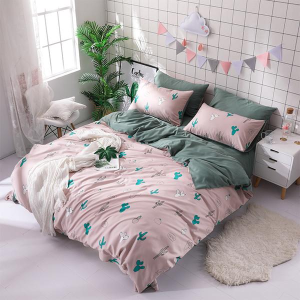 4 Adet / Güzel Stil Yatak Seti Çift Yan Renk Rahat Pamuk Nevresim Dantel Sac yastık kılıfı yazdır Kaktüs set