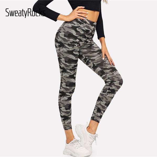 SweatyRocks Camo Baskı Skinny Tayt Aktif Giyim Kamuflaj Tayt 2018 Egzersiz Sonbahar Spor Bayan Pantolon Ve Pantolon