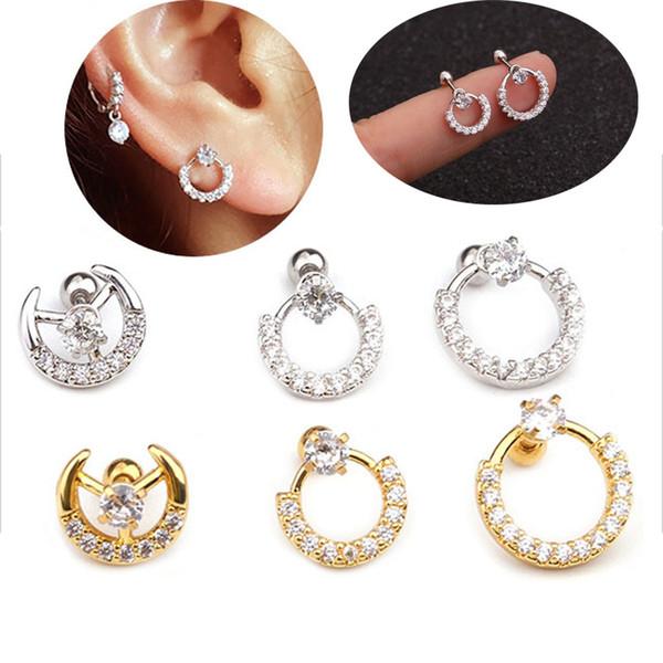 Popular 1 pieza fácil de poner en la oreja de oro rosa de color CZ Hoop pendiente Daith Tragus Helix Lobe piercing joyería