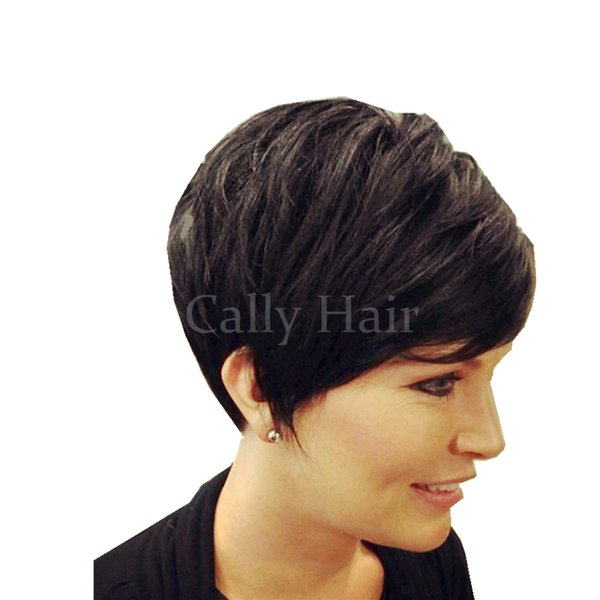 Indian hair New Short Pixie Cut Human Natural Hair Wig Rihanna Full Lace Front Bob Wigs For Black Women Celebrity Wigs Hot Sale