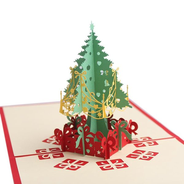 Christmas Cards 3d Up Christmas Tree Custom Greeting Cards Gifts Souvenirs Postcards Greeting Card Template Greeting Card Templates From Bdhome