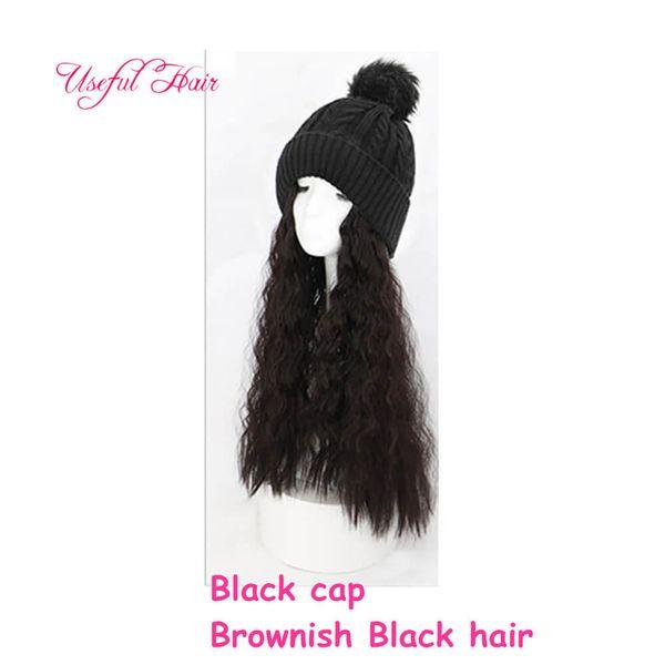 Black cap brownish black Curly hair