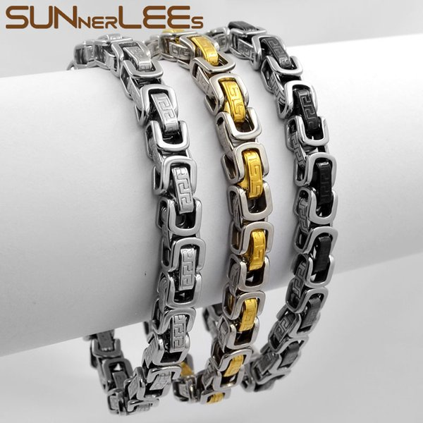 SUNNERLEES Fashion Jewelry Stainless Steel Bracelet 7mm Box Byzantine Link Chain Silver Gold Black Men Women Gift SC141 B