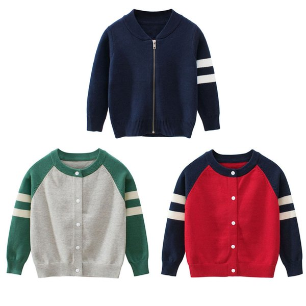 top popular Autumn Winter Kids Striped Sweater Top Children Knitted Cardigan Sweater Baseball Coat Toddler Jacket Outerwear Clothes 2021