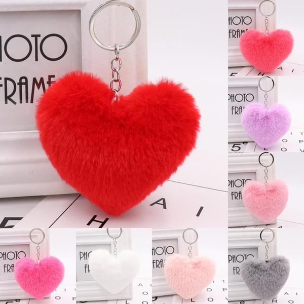 2019 Faux Soft Keyrings Rabbit Pom Pom Heart Keychain Alloy Key Ring Fluffy Fur Ball Keychains Women Bag Cell Phone Car Charm Pendant