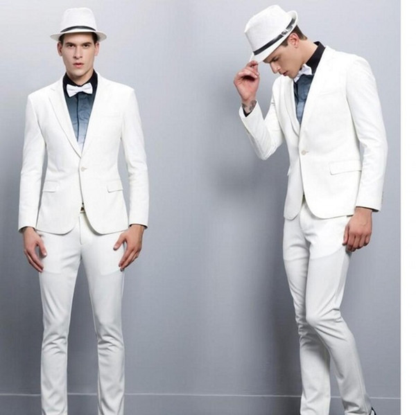 White Groom Tuxedos 2019 Notched Lapel Best Man Suit Wedding Men's Blazer Suits Custom Made (Jacket+Pants+Bow)