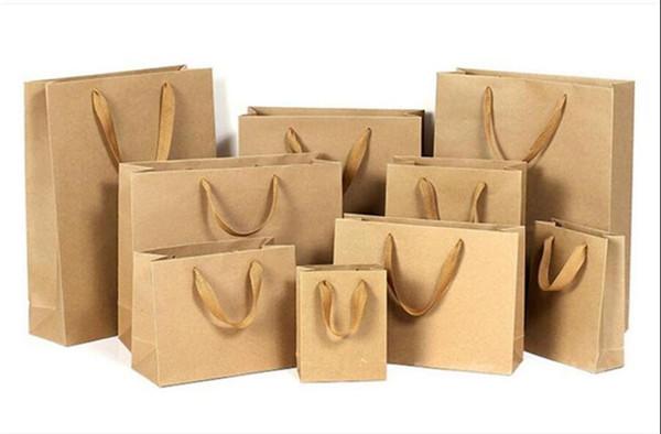 Carte da regalo di regalo 10 misure stock scatole di sacchetti regalo di carta personalizzati marrone sacchetto di carta kraft con manici per matrimoni partito cibo all'ingrosso DHL