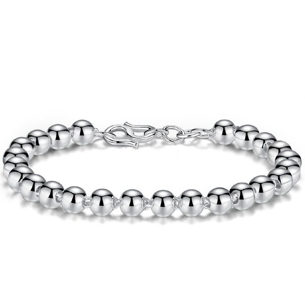 Smooth Ball Bracelet Silver Bead Bangles For Women Men Couples Lover Wedding Lucky Happiness Blessing Buckle Chain Charm Bracelets
