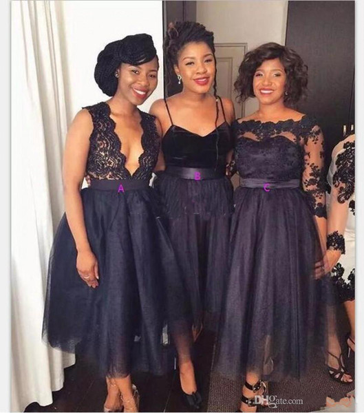 2019 African Dark Navy Short Bridesmaid Dresses A Line Tea Length Appliques Country Garden Wedding Guest Gowns Maid Of Honor Dress Plus Size