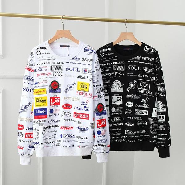 DESIGN Allover Logos Stampato Lettera Stampa Parigi con cappuccio Pullover Felpa Via Uomini Donne Homme Inverno Mens Fleece Hoodie SKlv11