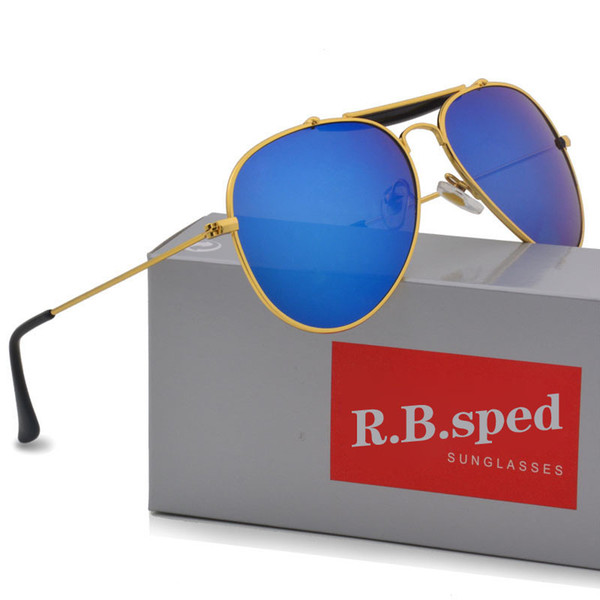Marke Designer Classic Pilot Sonnenbrillen für Männer Frauen Metallrahmen Fahrbrille uv400 Schutz Flash Mirror Goggle mit Box und Koffer