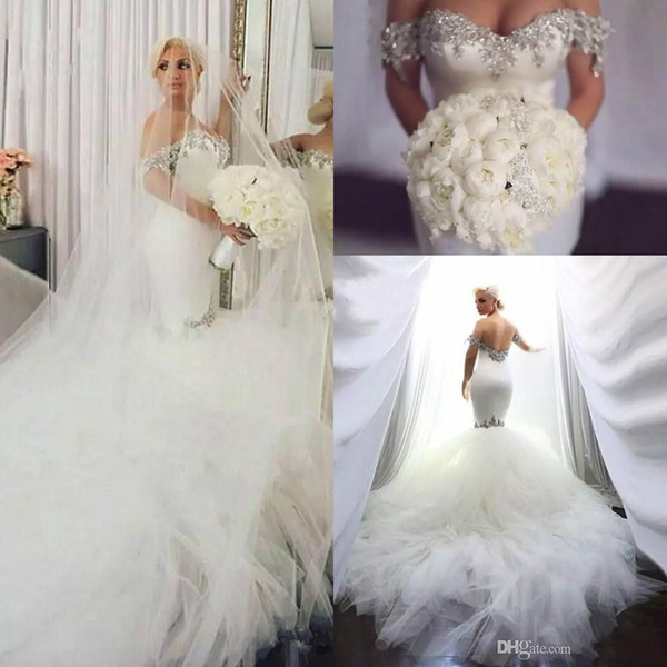 Bling Mermaid Beaded Wedding Dresses 2019 Vintage Off Shoulder Cathedral Train Fishtail Country Church Civil Bridal Gowns Boho Brautkleider