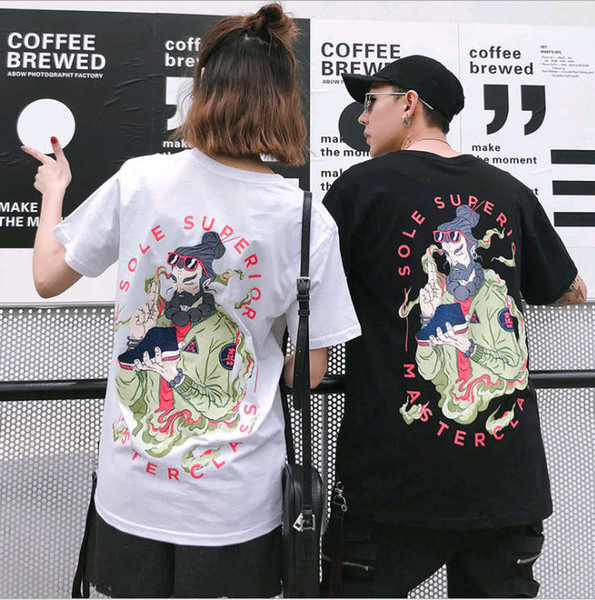 Tendência da moda original Harajuku estilo pintura a óleo T-shirt masculino de manga curta casal 2019 verão T-shirt marca maré europeus e americanos ha
