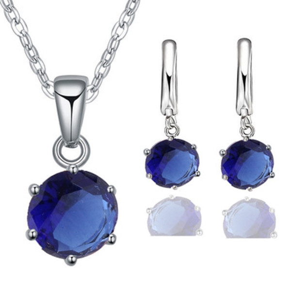 5Colors Cubic Zircon Pendant Necklace Earrings Set Crystal Elegant Jewelry Set for Wedding Party Women Girls Valentine Gifts