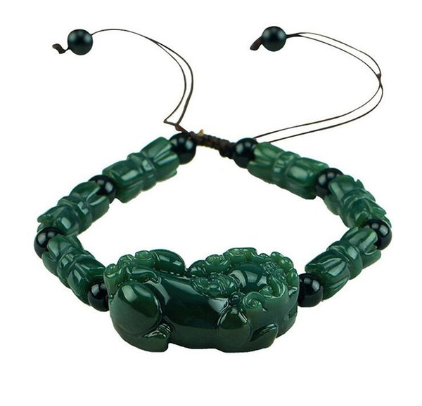 Fine Jewelry Green Jade Handmade Brave Troops Kirin Carved Bracelet Free Shipping