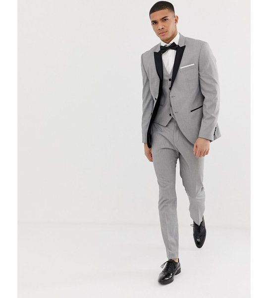 2019 Grey Mens Suits Black Lapel Slim Fit Wedding Suits for Groom / Groomsmen Prom Casual Suits Custom Made (Jacket+Pants+Vest+Bow)