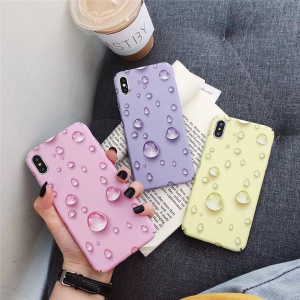 2019 Girl Pink Water Drops PC Matte Hard Cell Phone Cases Covers Female for Iphone7/8/7p/8p/X/Xs/Xs MAX Full Protection Yellow Purple Pink