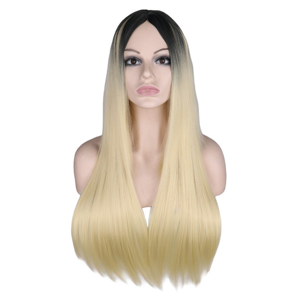 Long Straight Wig For Women Black To Blonde Ombre Hair with Middle Part Heat Resistant Synthetic Hair Wigs