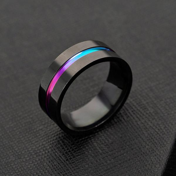 316L Edelstahl Band Ring Schwarz Regenbogen Ring Band Ringe für Frauen Männer Modeschmuck Will und Sandy Drop Ship