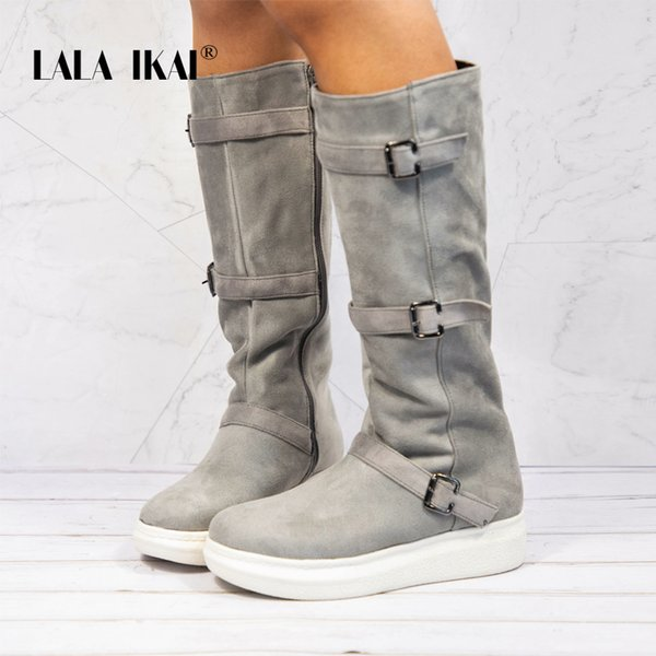 2019 LALA IKAI Snow Boots Women Winter Boots Zipper Buckle Flock Round Toe Mid-Calf Ladies Winter Warm Boots 014A2776 -4