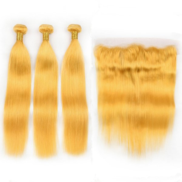 Colored Yellow Virgin Indian Human Hair Bundles Deals 3Pcs with Frontal Closure 13x4 Straight Yellow Hair Weaves with Full Lace Frontal