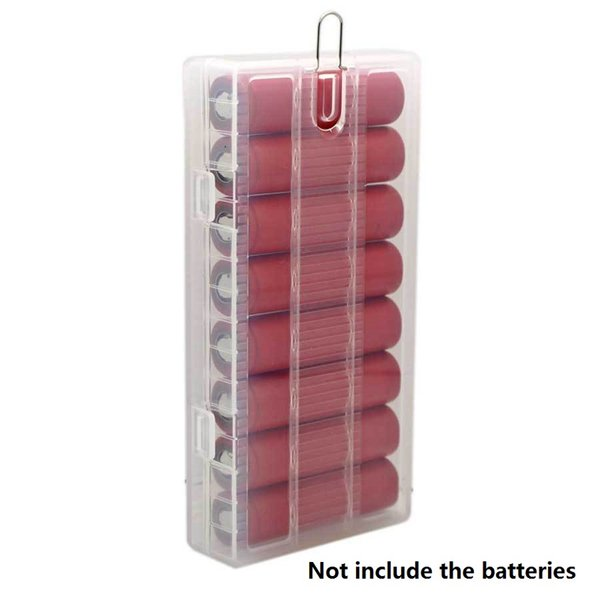 Portable translucent Hard PP battery Protective Case Holder Organizer 18650 battery Storage Box With Hook hanger For 8 x 18650 Batteries
