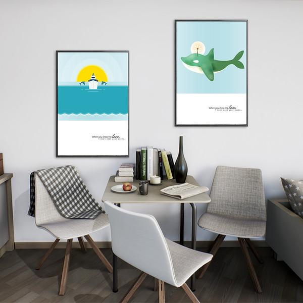 Soyut Okyanus Hayvan Şekli Balina Tuval Poster Baskılar Büyük Duvar Sanatı Resimleri Hiçbir Çerçeve Modern İskandinav Oturma Odası Ev Dekor