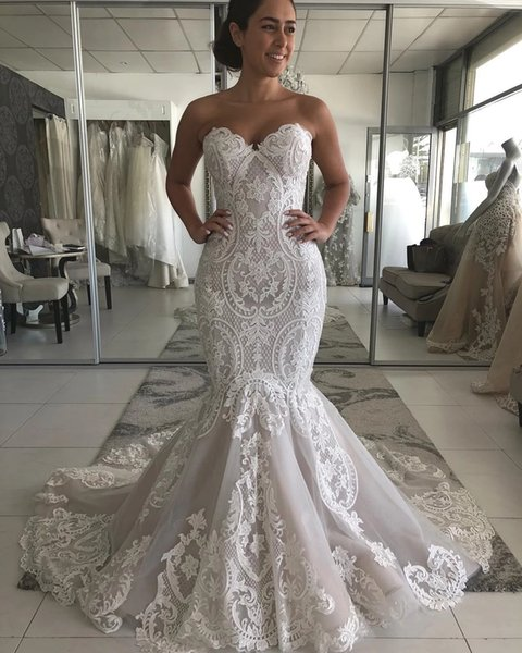 Gorgeous Mermaid Wedding Dresses Sweetheart Appliques Country Bohemian Wedding Dress Fishtail Bodice Arabic Garden Summer Bridal Gowns 2019