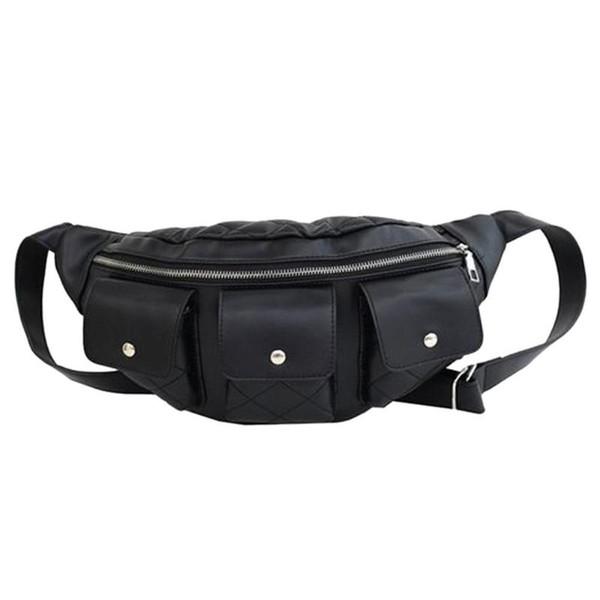 Punk Style Zipper PU Leather Women Waist Packs Chest Bag Lady Phone Belt Shoulder Handbags Girls Travel Fanny Packs Pouch Bolsa