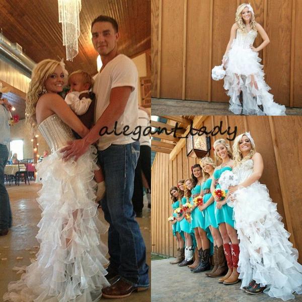 Abito da sposa con avvio da cowgirl country di alta e bassa vita 2019 Sweetheart Crystal Ruffles Skirt Abito da sposa informale da sposa