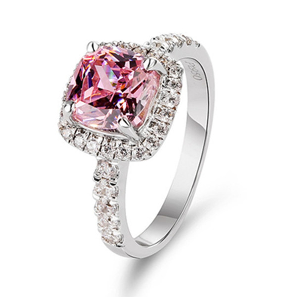 Sólido Anillo de Oro Blanco 2CT Cojín Anillo de Compromiso de Moissanite Prueba Positiva 18 K Joyería Halo Brillante Diamante 750