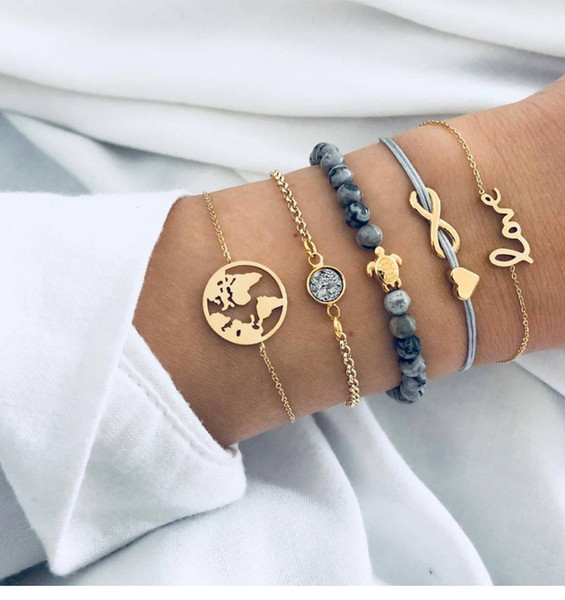 top popular Shop jewelry weaving love 8-letter map of the world turtle grey beaded set with diamond and pine stone bracelet 5-piece set 2020