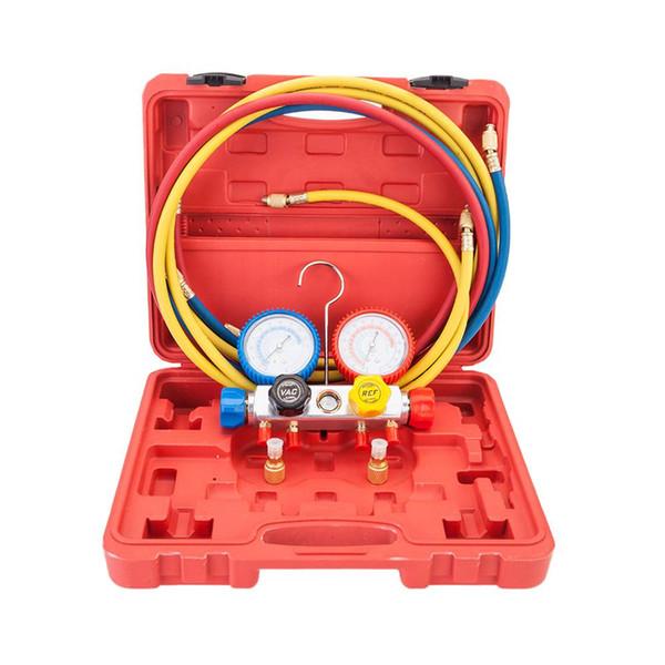 R404A R410A R22 Juego de válvulas de manómetro doble con estuche de plástico rojo Rojo, azul, azul, válvula de presión dorada