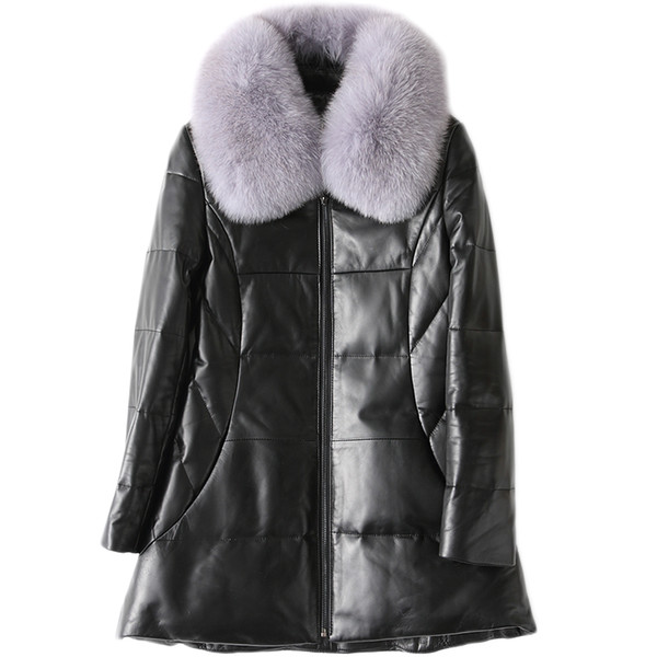 High Quality Women Real Leather Jacket Detachable Natural Fox Fur Collar Genuine Leather Sheepskin Coats Winter Down Jackets 262