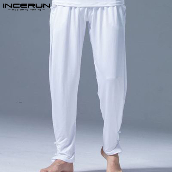 INCERUN Leisure Pants Men Joggers Quick Dry Workout Elastic Waist Kung Fu Pants Loose Solid Color Chinese Style Trousers Men 5XL