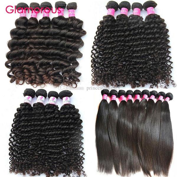 Estensioni Glamorous dei capelli umani 4pcs di lunghezza mista brasiliano malese indiano capelli vergini peruviani onda dritta Onda profonda capelli ricci