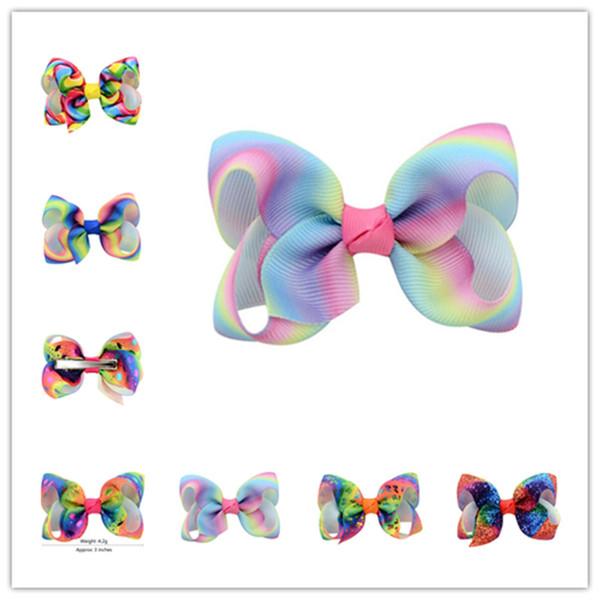 JoJo Bowknot Hairpin Hairclips Crianças Meninas Gradiente Rainbow Arcos Barrettes Dance Hair Bows Hairbands Grampos de Cabelo Acessórios presentes 2019 A3141