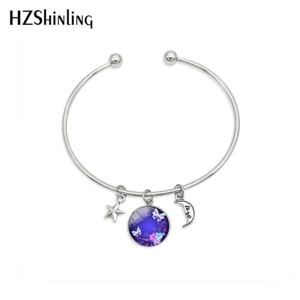 New Fashion Magic Charming Blue Neon Butterfly Bracelets Jewelry Beauty Butterflies Star Moon Dome Pendants Handcraft Bracelet