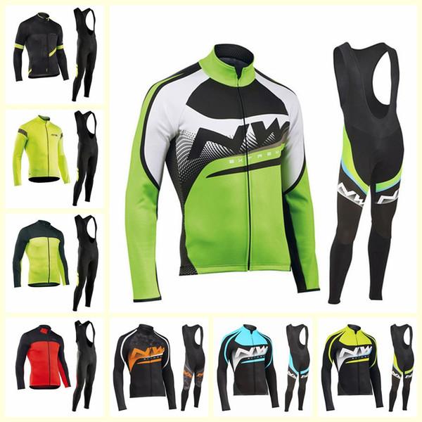 NW team Cycling long Sleeves jersey bib pants sets Bicycle Clothes Ropa Ciclismo Sport Uniformes U10908