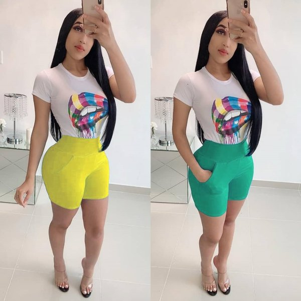 2019 Ensemble Femme New Outfits Set For Women Sexy Funny Printed Colour  Lips T Shirts And Shorts Tracksuit Summer Style From Avive, $24 52 |