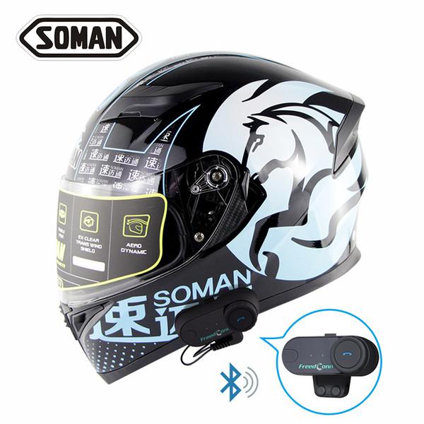 Soman Double Visors Motorbike Casco Built In Bluetooth Full Face Motorcycle Helmet Flip Up Motocross Cycling Capacates Sm960 Tomvb Womens Motorcycle